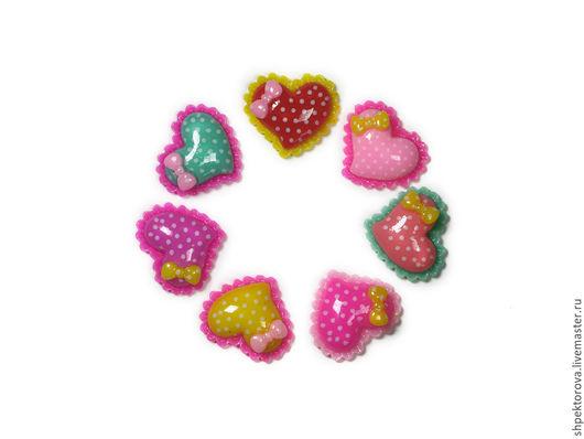 Другие виды рукоделия ручной работы. Ярмарка Мастеров - ручная работа. Купить Кабошоны сердечки с бантиками 18х21мм. Handmade. Разноцветный