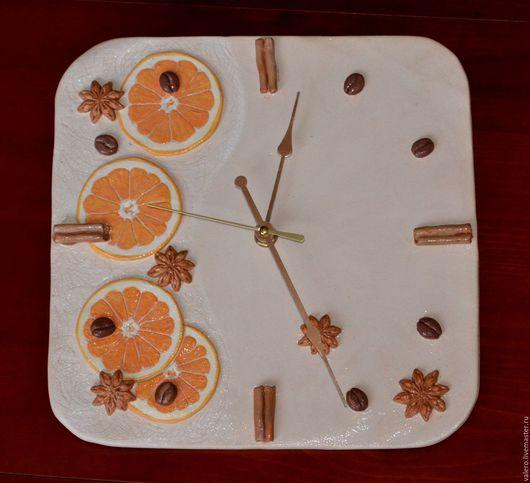 Часы для дома ручной работы. Ярмарка Мастеров - ручная работа. Купить Часы настенные Апельсиновый десерт. Handmade. Керамика, специи