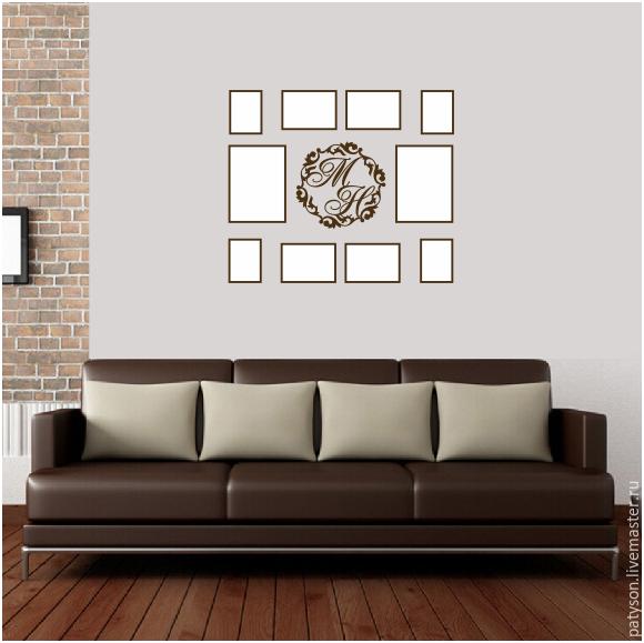 Коллаж из фоторамок с персональной монограммой - отличный способ красиво декорировать пустые стены и наполнить интерьер позитивом.