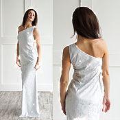 Одежда ручной работы. Ярмарка Мастеров - ручная работа Платье в пол Сверкающий Лед - длинное вечернее платье нарядное. Handmade.
