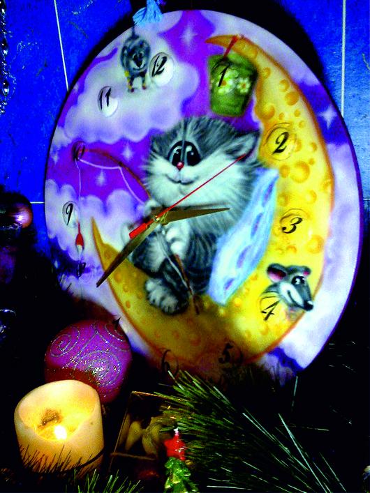 """Часы для дома ручной работы. Ярмарка Мастеров - ручная работа. Купить Часы настенные   """"Кошки - мышки на луне, Или детское время"""". Handmade."""