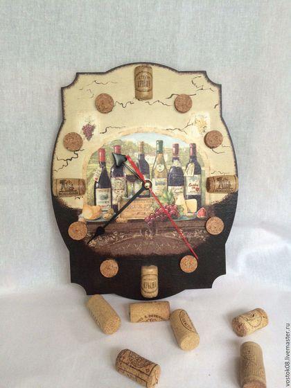 Часы для дома ручной работы. Ярмарка Мастеров - ручная работа. Купить Часы Винный погребок. Handmade. Коричневый, часы интерьерные