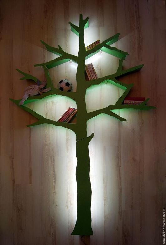 Детская ручной работы. Ярмарка Мастеров - ручная работа. Купить Дерево-стеллаж с подсветкой для детской комнаты. Зеленое.. Handmade.