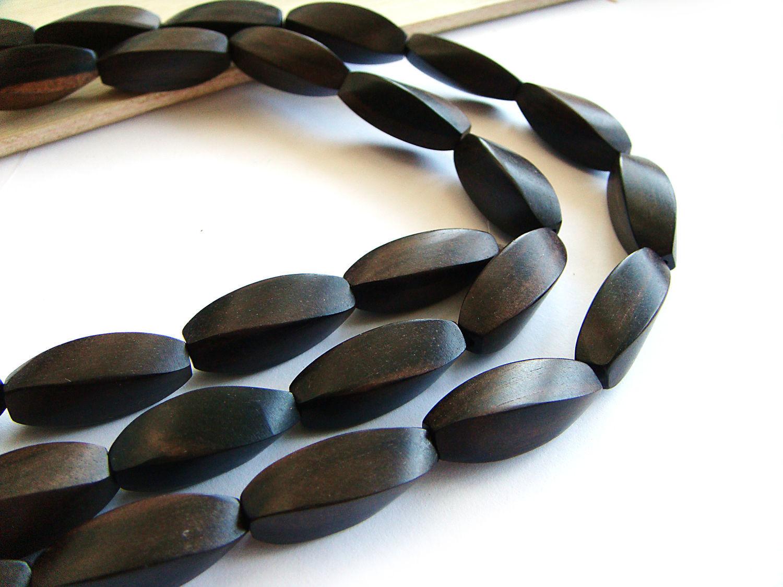 Beads black Ebony four-sided twist, Beads1, Bryansk,  Фото №1