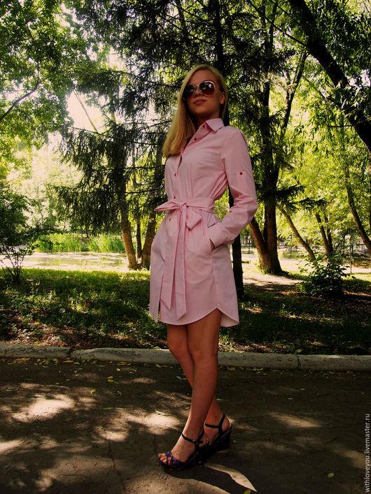 Платья ручной работы. Ярмарка Мастеров - ручная работа. Купить Платье-рубашка. Handmade. Бледно-розовый, рубашка, хлопок