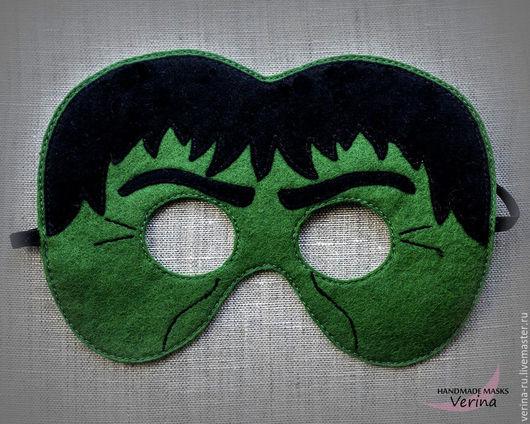 Карнавальные маски для детей и взрослых из фетра ручной работы.Маски супергероев из фетра. Маски для вечеринки. Халк