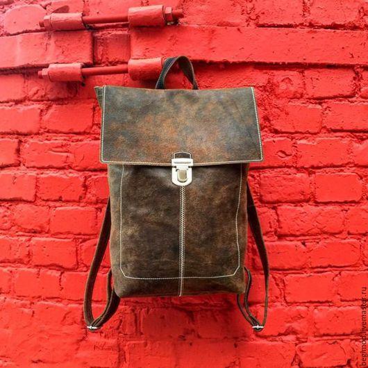 Рюкзаки ручной работы. Ярмарка Мастеров - ручная работа. Купить Рюкзак-ранец. Handmade. Коричневый, кожаный рюкзак, портфель, рюкзак