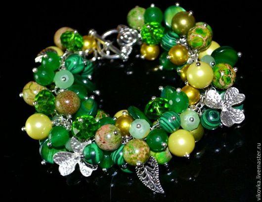 """Браслеты ручной работы. Ярмарка Мастеров - ручная работа. Купить зелёный браслет """"Подарок """"Лепрекона"""". Handmade. Ярко-зелёный, для денег"""