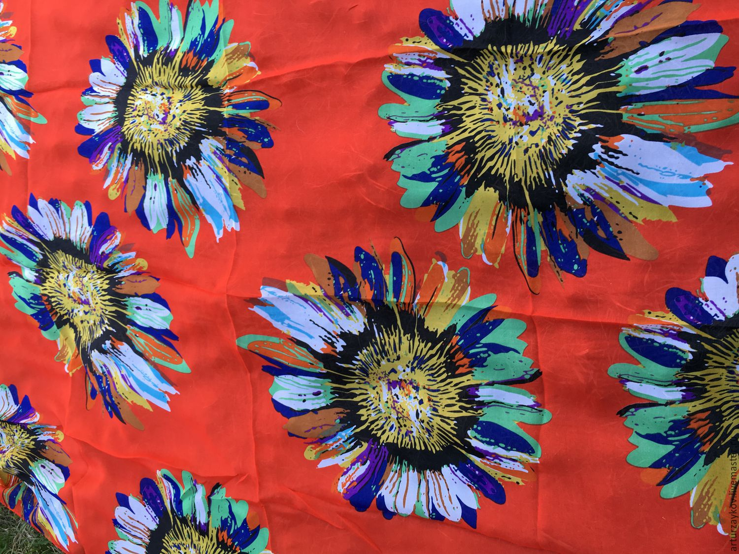 A silk stole of Daisies different, Fabric, Berdsk,  Фото №1