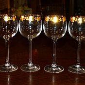 Винтаж handmade. Livemaster - original item Beautiful set of 6 wine glasses, Bohemian glass.. Handmade.