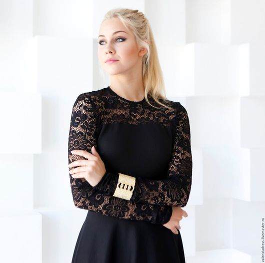 Платья ручной работы. Ярмарка Мастеров - ручная работа. Купить Платье с кружевом из джерси, черное платье миди. Handmade. Черный