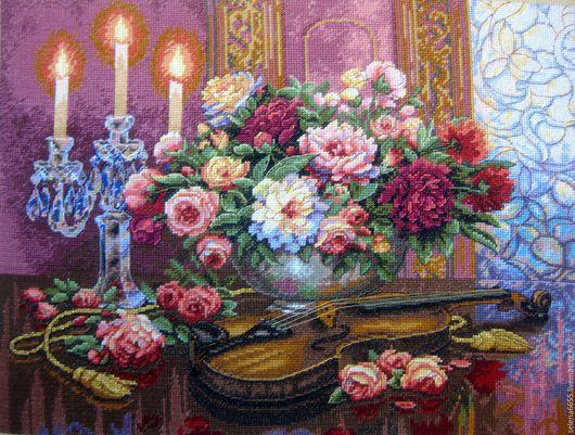 """Картины цветов ручной работы. Ярмарка Мастеров - ручная работа. Купить Вышитая картина """"Романтический букет"""". Handmade. Вышитая картина"""