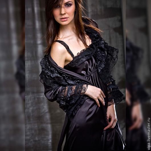 Халаты ручной работы. Ярмарка Мастеров - ручная работа. Купить Scarlett (халат). Handmade. Черный, сатин, халатик, белье, ночь