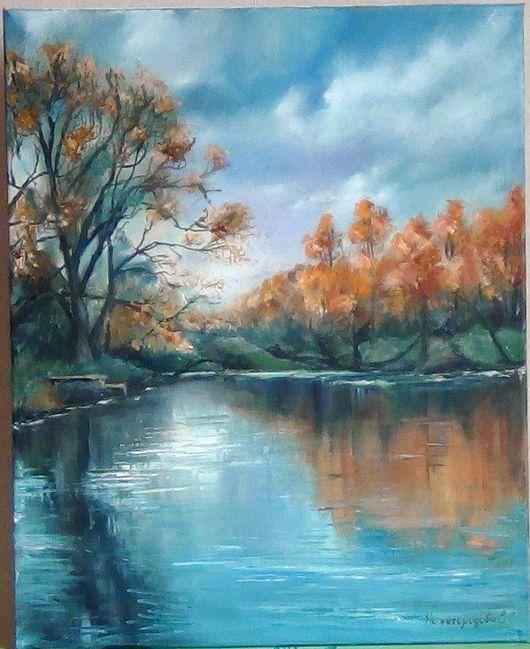 """Пейзаж ручной работы. Ярмарка Мастеров - ручная работа. Купить """"Осень на озере"""". Handmade. Рыжий, картина в подарок, холст на подрамнике"""