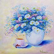 Картины и панно handmade. Livemaster - original item Painting Still life with blue flowers Oil painting of chamomile. Handmade.
