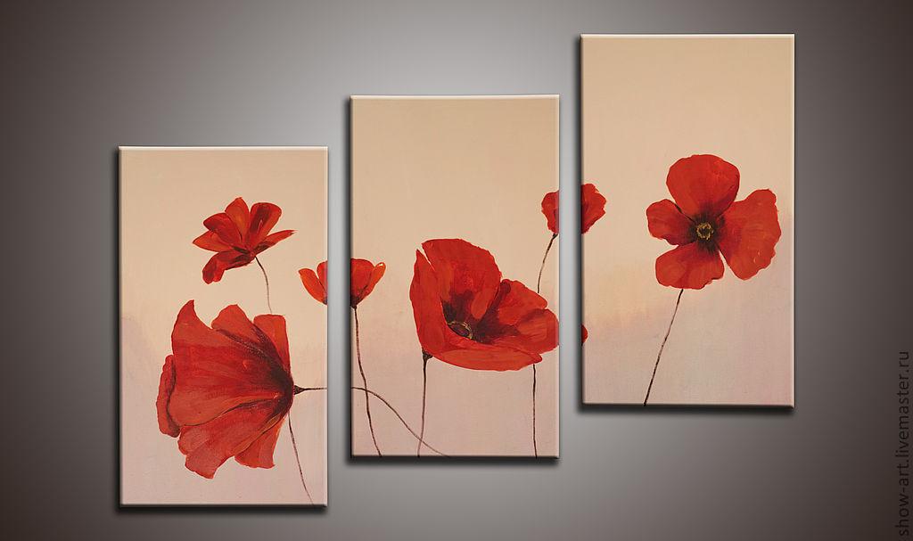 Триптих цветы картины