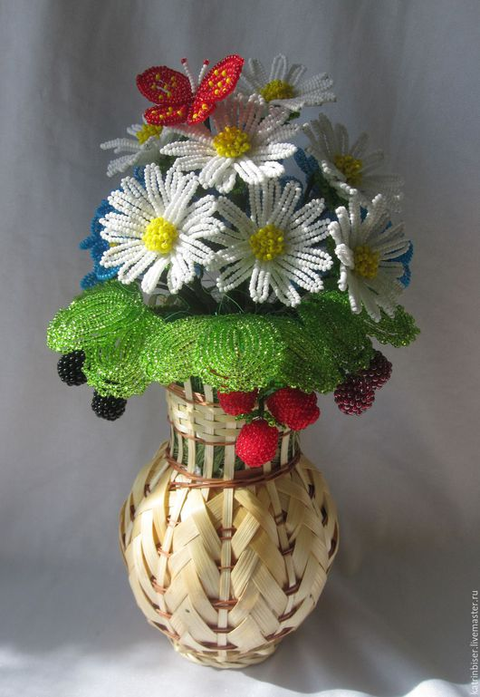 Цветы ручной работы. Ярмарка Мастеров - ручная работа. Купить Букет с бабочкой. Handmade. Белый, незабудки