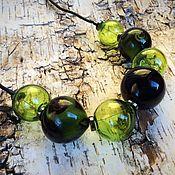 Украшения manualidades. Livemaster - hecho a mano Collar negro y verde. El vidrio lempvork. Handmade.