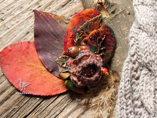 """Броши ручной работы. Ярмарка Мастеров - ручная работа. Купить Брошь на пальто """"Подарок осени"""". Handmade. Рыжий, брошь с цветком"""
