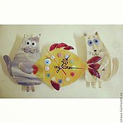 Часы ручной работы. Ярмарка Мастеров - ручная работа Часы Коты и Рыба. Handmade.