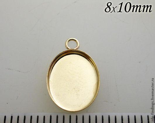 Для украшений ручной работы. Ярмарка Мастеров - ручная работа. Купить 4 основы Gold filled для для подвесок с кабошоном 10х8мм (OV1081GF). Handmade.