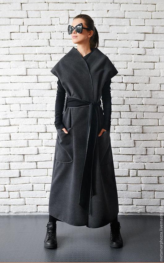 Верхняя одежда ручной работы. Ярмарка Мастеров - ручная работа. Купить Кашемировое пальто безрукавка. Handmade. Серый, стильное пальто