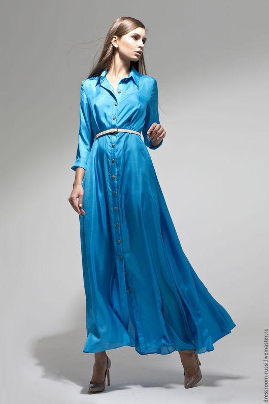 Платья ручной работы. Ярмарка Мастеров - ручная работа. Купить Платье в пол из шелка. Handmade. Бирюзовый, платье на праздник, шёлк