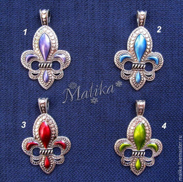 4 цвета, Подвеска  Геральдическая лилия с эмалью, под серебро, Подвески, Туймазы,  Фото №1