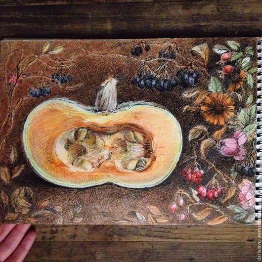 Картины цветов ручной работы. Ярмарка Мастеров - ручная работа. Купить Сердцевина осени. Handmade. Рыжий, осень, осенний натюрморт