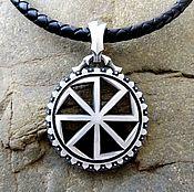 Украшения handmade. Livemaster - original item Pendant / Amulet Kolovrat with runes from silver of 925. Handmade.
