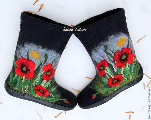 """Обувь ручной работы. Ярмарка Мастеров - ручная работа. Купить Валенки """" Маки 3D"""". Handmade. Черный, валенки для улицы"""