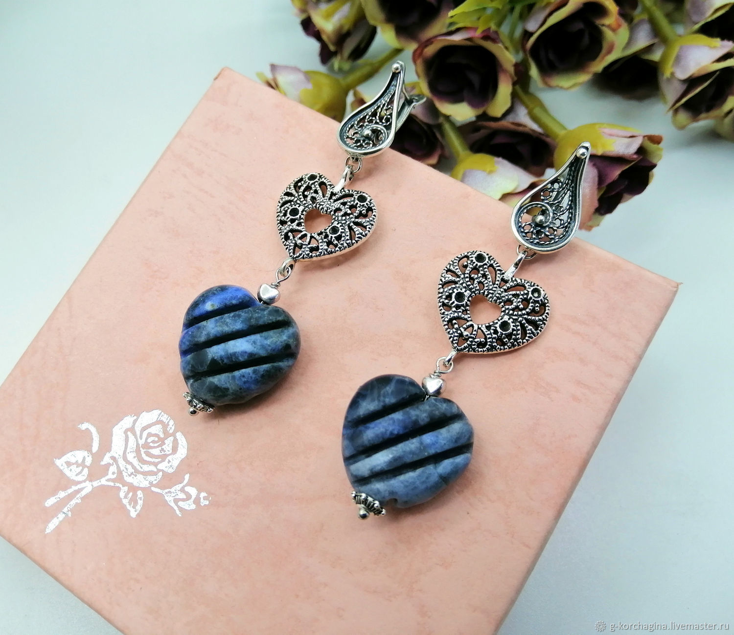 Classic long earrings with carved sodalite ' Denim', Earrings, Voronezh,  Фото №1