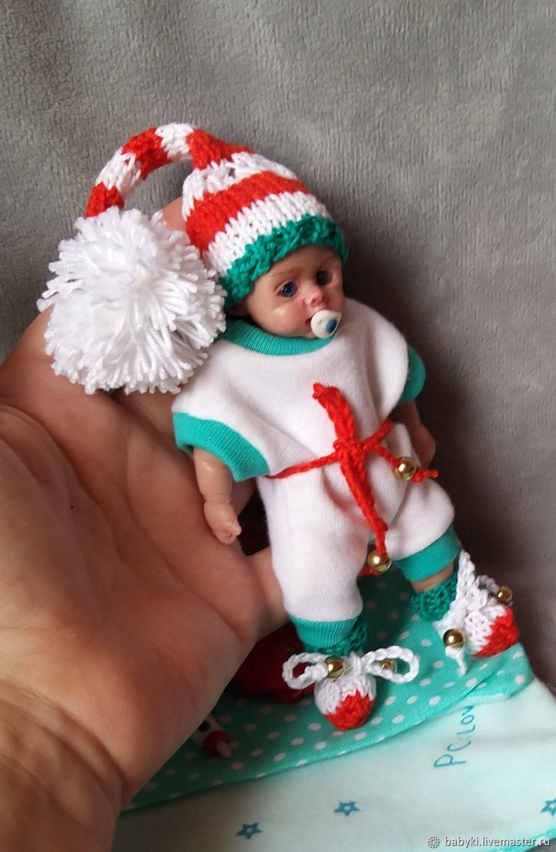 Кукла из силикона в новогоднем костюме  12 см Костик, анатомический, Куклы Reborn, Актобе,  Фото №1