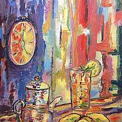 Картины ручной работы. Ярмарка Мастеров - ручная работа Картины: Чай с лимоном. Handmade.