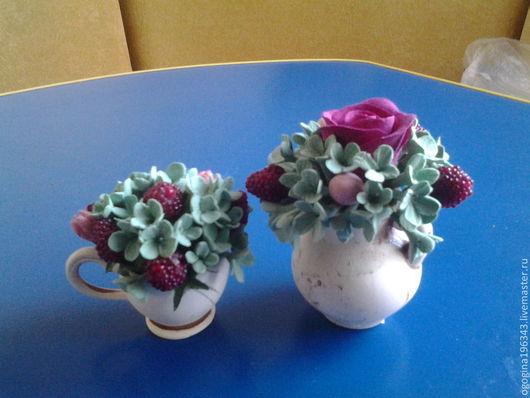 Цветы ручной работы. Ярмарка Мастеров - ручная работа. Купить Цветочные миниатюры. Handmade. Калина, клубничный, вазочка