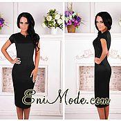 89a7f5619ea Элегантное чёрное платье-футляр с баской – купить в интернет ...