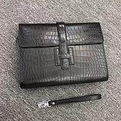 Сумки и аксессуары handmade. Livemaster - original item Purse clutch bag, from the abdominal part of the crocodile leather, black color!. Handmade.