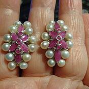 Серьги из серебра с рубинами и жемчугом