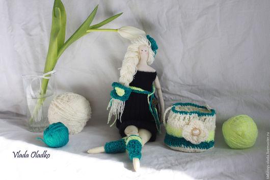 Куклы Тильды ручной работы. Ярмарка Мастеров - ручная работа. Купить Весенняя тильда- хранительница мелочей. Handmade. Тёмно-бирюзовый