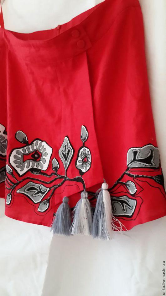 """Юбки ручной работы. Ярмарка Мастеров - ручная работа. Купить Этническая юбочка""""МАЛЬВЫ"""" с запахом.. Handmade. Ярко-красный, народный"""