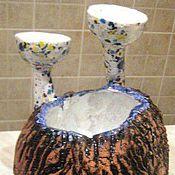 """Подсвечники ручной работы. Ярмарка Мастеров - ручная работа Подсвечник керамический с вазой. """"Орех на двоих"""".. Handmade."""