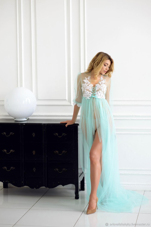 Будуарное платье цвета тиффани, Платья, Москва,  Фото №1