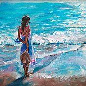 Картины и панно handmade. Livemaster - original item Oil painting Girl by the sea impressionism on canvas. Handmade.