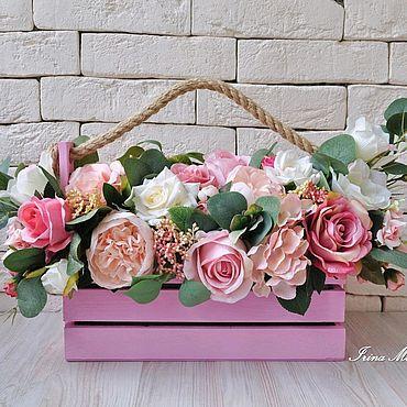 Цветы и флористика. Ярмарка Мастеров - ручная работа Интерьерная композиция в деревянном ящике. Handmade.