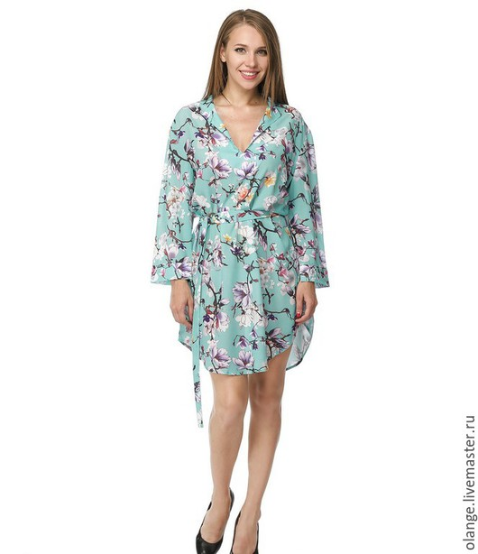 Платье-рубашка `Анна-банана`- сакура (мидл)