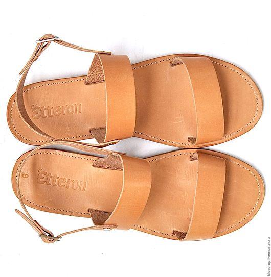 Обувь ручной работы. Ярмарка Мастеров - ручная работа. Купить Кожаные сандалии с параллельными ремешками и с ремешком на щиколотке. Handmade. Сандалии