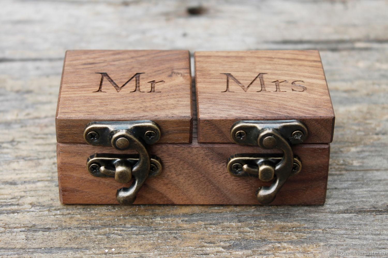 Свадебная деревянная шкатулка для обручальных колец с гравировкой, Подушечки, Черкассы, Фото №1