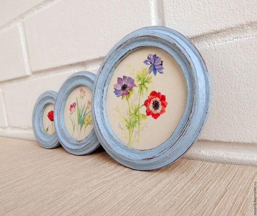 """Картины цветов ручной работы. Ярмарка Мастеров - ручная работа. Купить Маленькие панно """"Акварельные цветы"""".. Handmade. Голубой, для дома"""