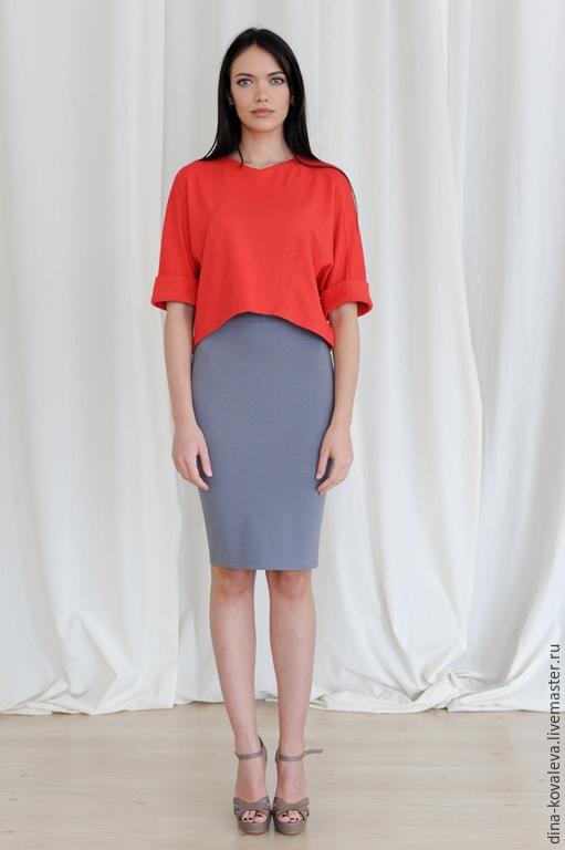 Юбки ручной работы. Ярмарка Мастеров - ручная работа. Купить Серая юбка-карандаш из джерси. Handmade. Однотонный, уютный, нежность