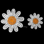 Материалы для творчества handmade. Livemaster - original item Embroidery applique patch sew-on Russian Chamomile. Handmade.